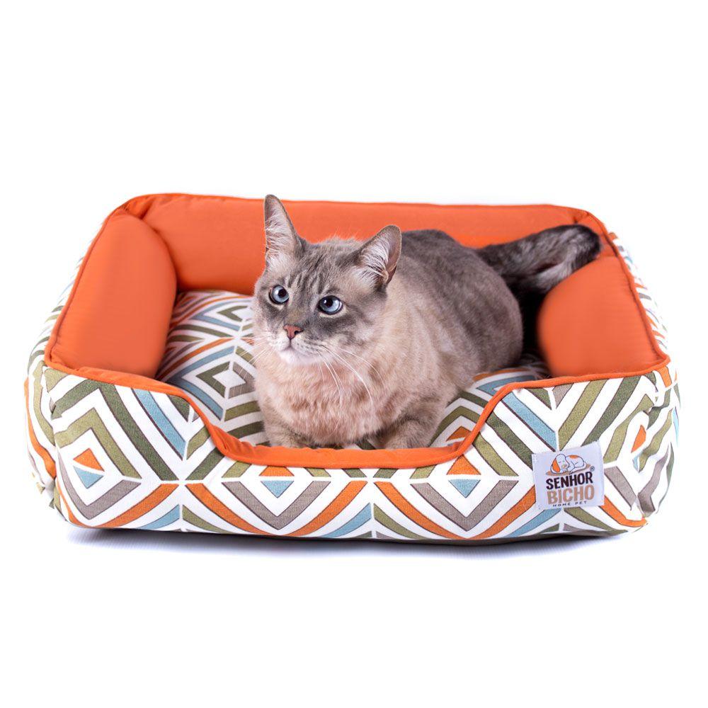 Cama Pet Cachorro Gato Pandora Olympus c/ Zíper - M - Tangerina