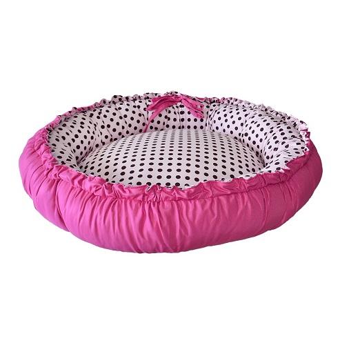 Cama de Cachorro Dupla Face Redonda Poly - Rosa Poá Pink