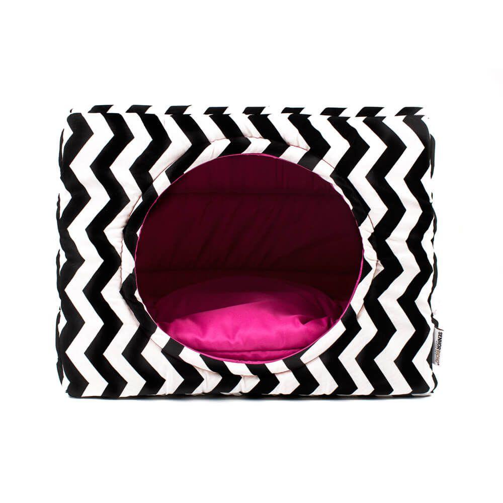 Cama de Gato Toca Iglu - M - Chevron Pink