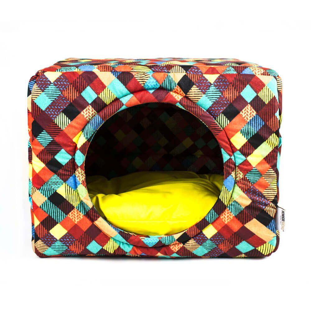 Cama Toca Pet Cachorro Gato Premium 2 em 1 - P - Colors Amarelo