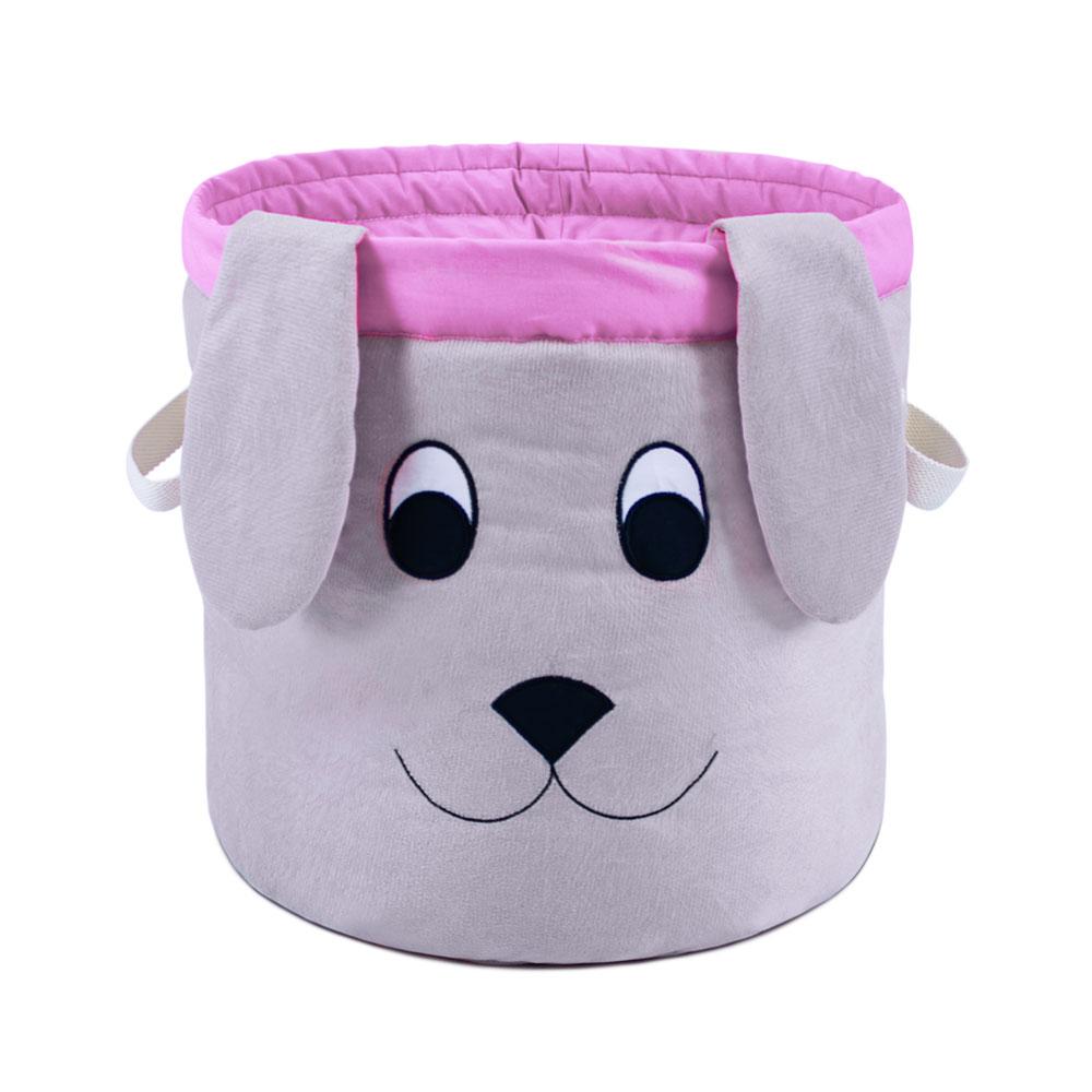 Cesto Organizador de Brinquedos para Cachorro - Cachorrinho Rosa