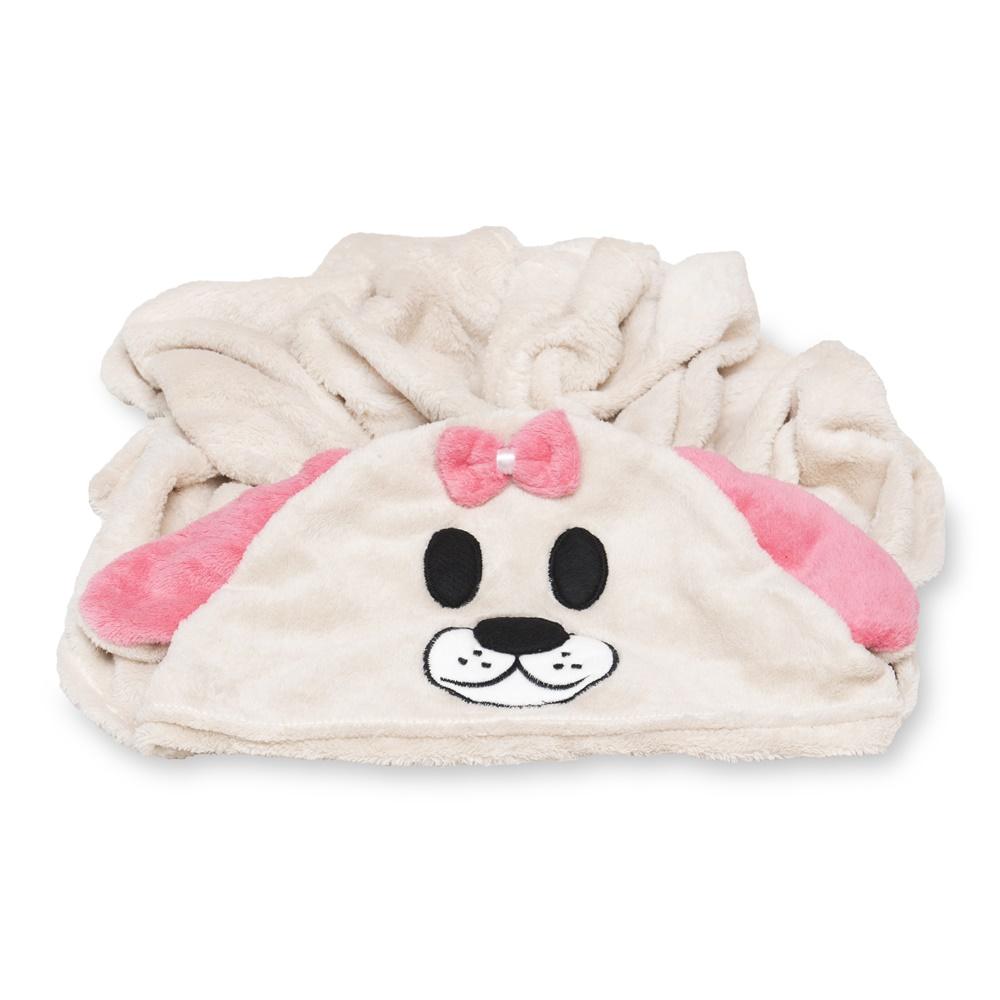 Cobertor para Cachorro Manta Com Capuz Dog Rosa 0,90x0,95
