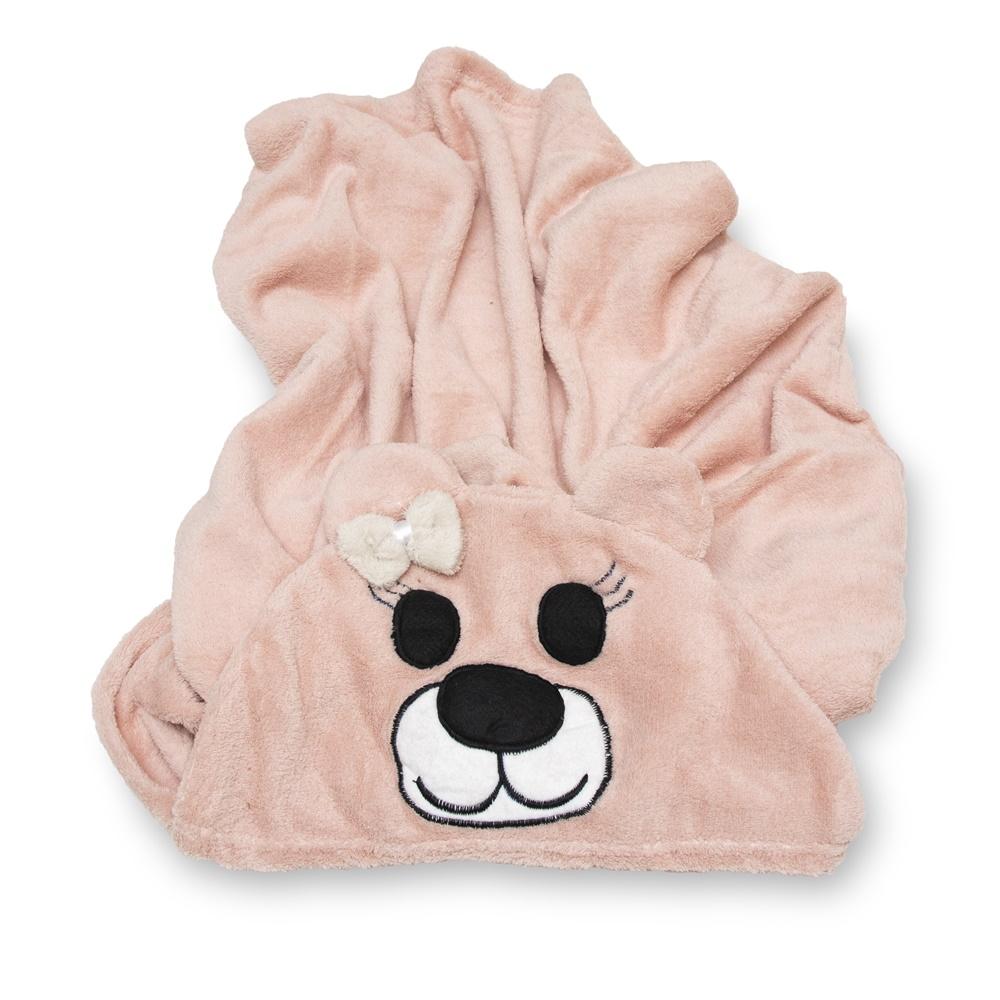 Cobertor para Cachorro Manta Com Capuz Urso Rosa 0,90x0,95