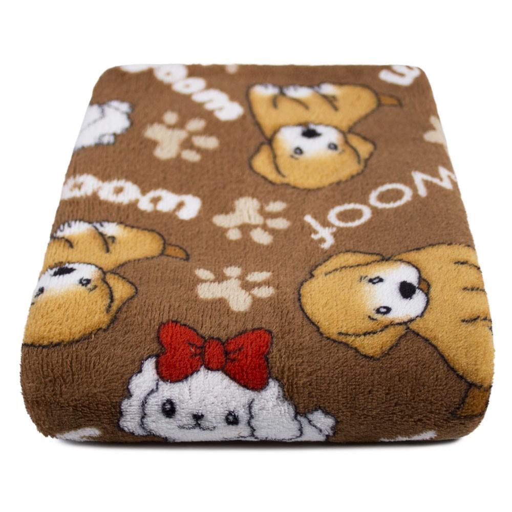 """Cobertor para Cachorro Microfibra """"Meu Pet"""" 0,70x1,00 - Cachorrinho Marrom"""