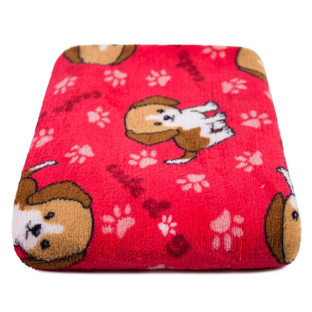 """Cobertor para Cachorro Microfibra """"Meu Pet"""" 0,70x1,00 - Cachorrinho Vermelho"""