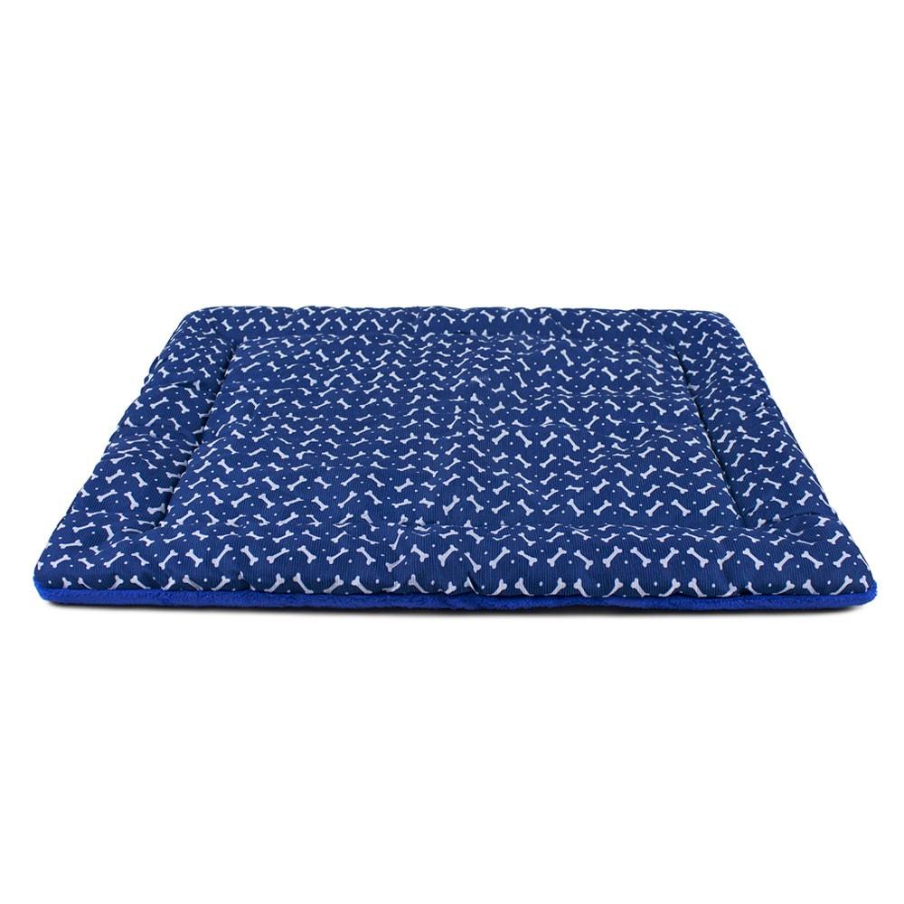 Colchonete para Cachorro Dupla Face 80x60 - Ossinhos Azul