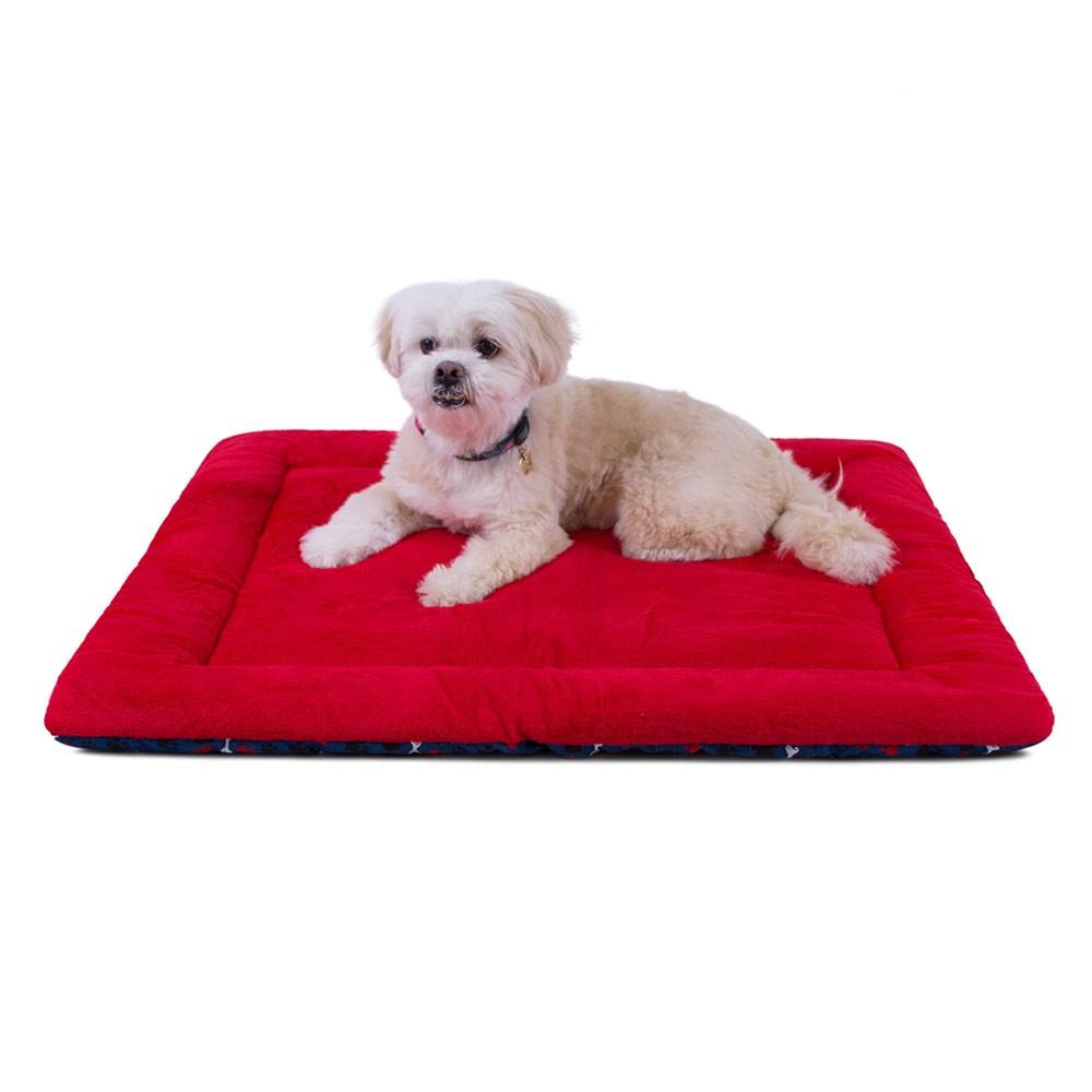 Colchonete para Cachorro Dupla Face 80x60 - Ossinhos e Patinhas Azul Vermelho