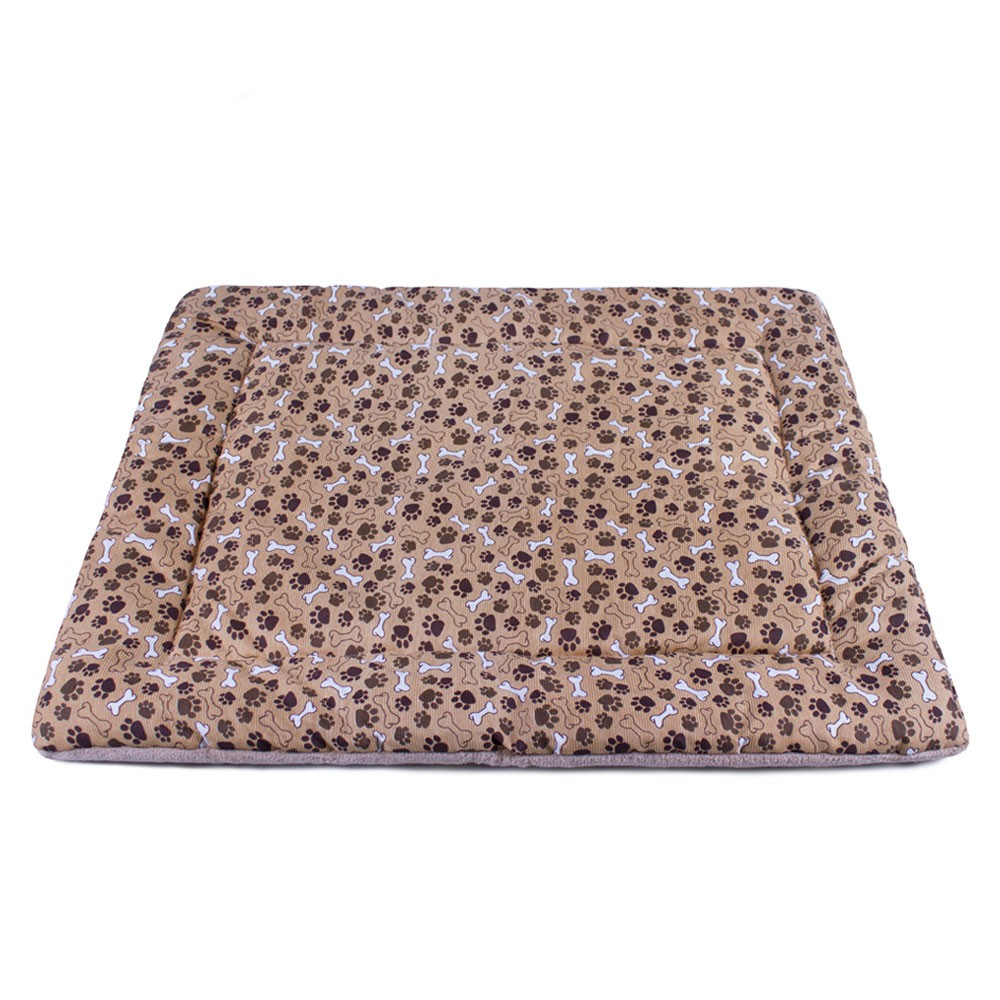 Colchonete para Cachorro Dupla Face 80x60 - Ossinhos e Patinhas Marrom