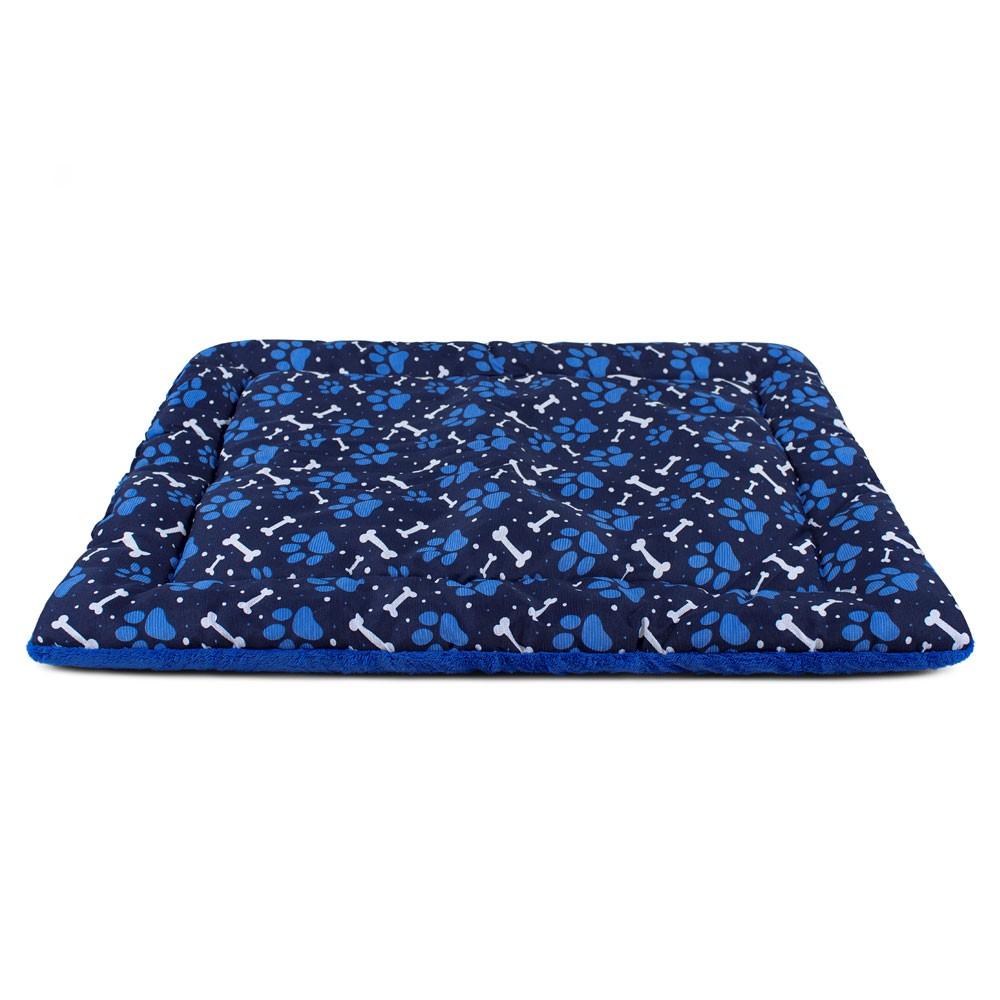 Colchonete para Cachorro Dupla Face 80x60 - Patas e Ossos Azul