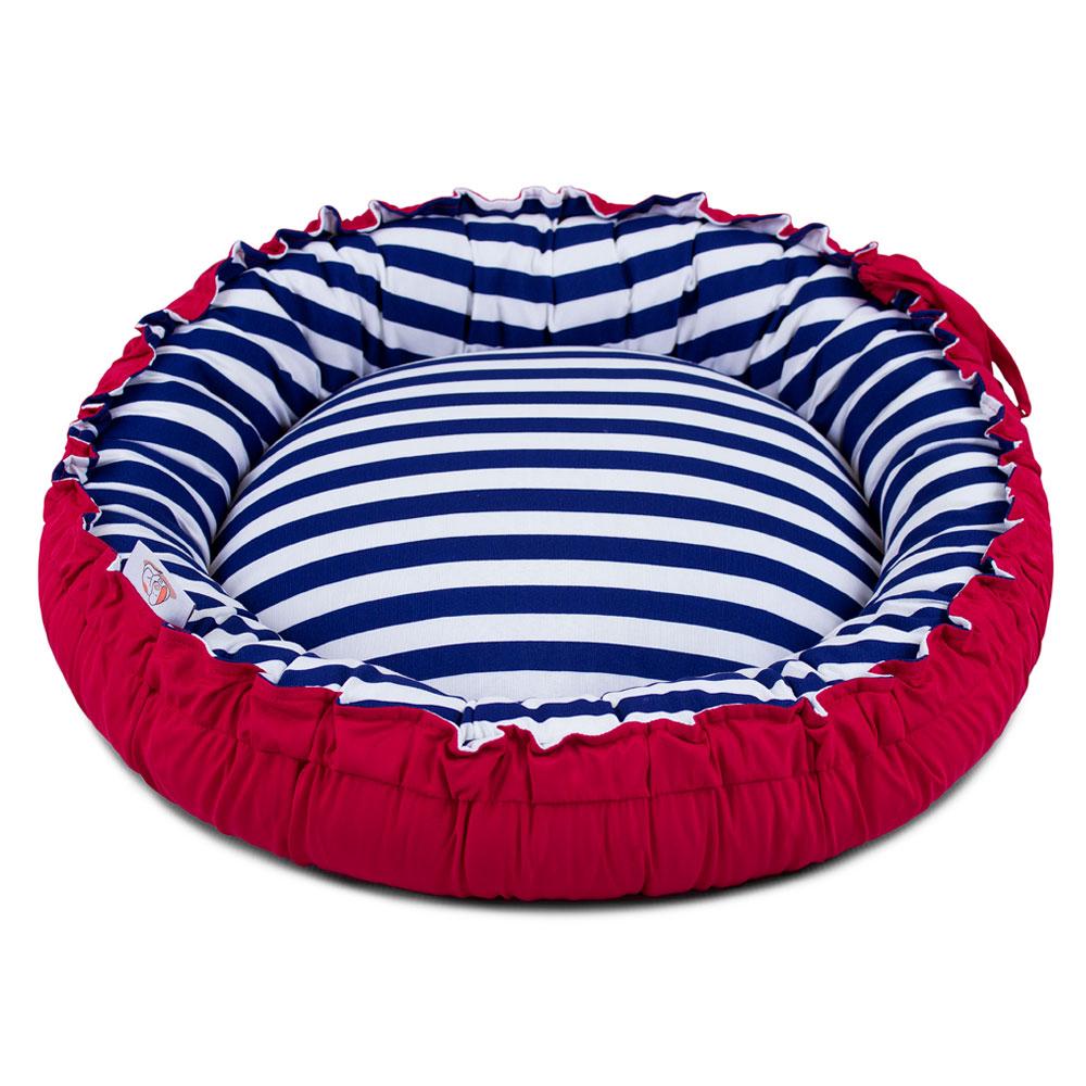 PRONTA ENTREGA! Cama de Cachorro Dupla Face Redonda Poly - Listras Azul + BRINDE