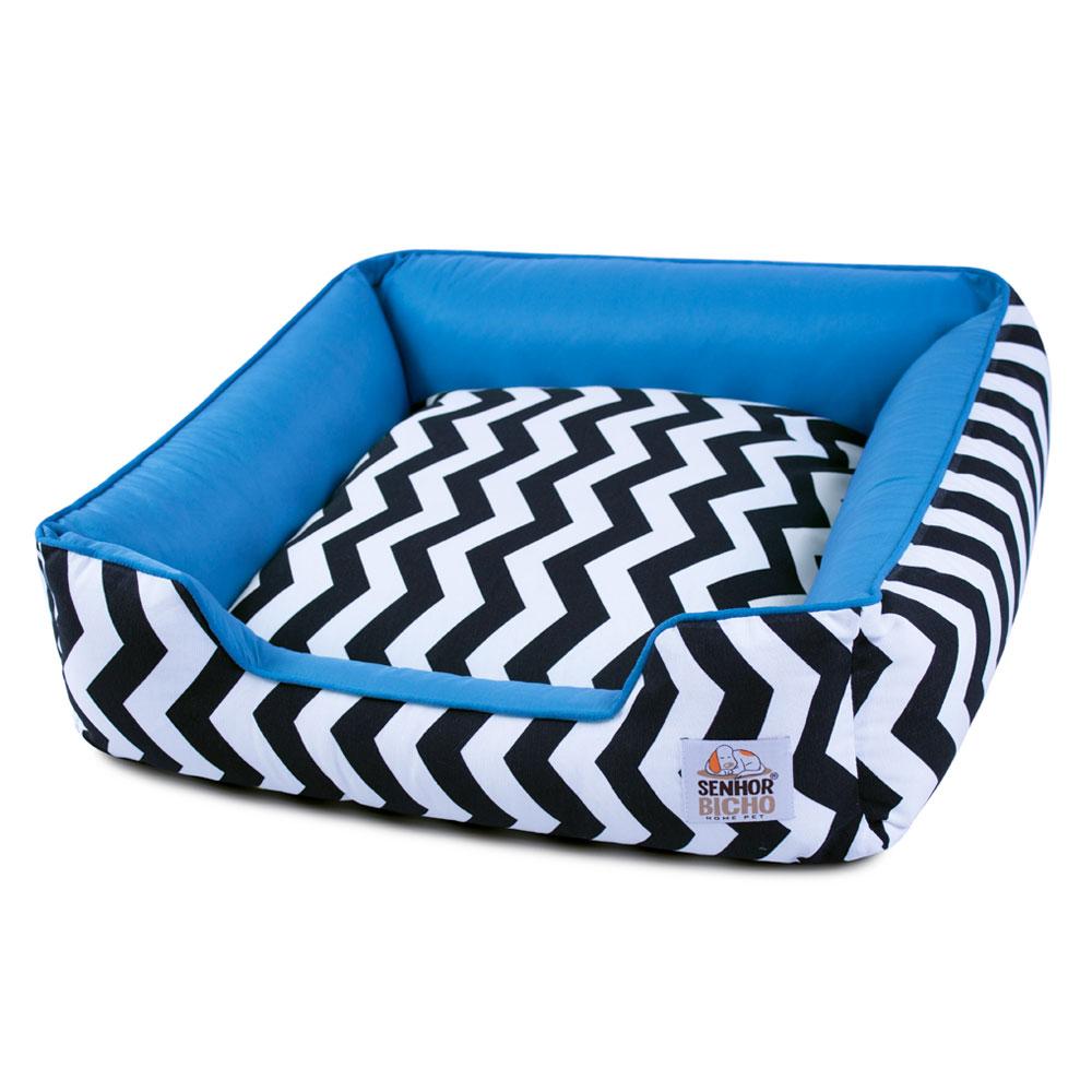Enxoval Cama de Cachorro com Zíper Pandora Chevron Azul