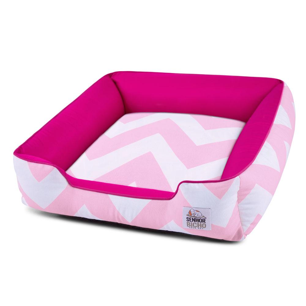 Enxoval Cama de Cachorro com Zíper Pandora - M - Chevron Rosa Pink