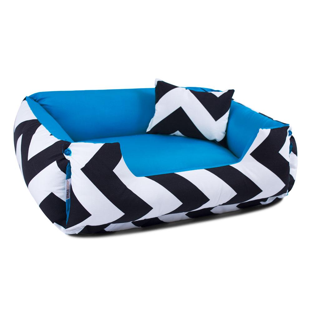 Enxoval Cama de Cachorro Dupla Face Lola - G - ZigZag Azul