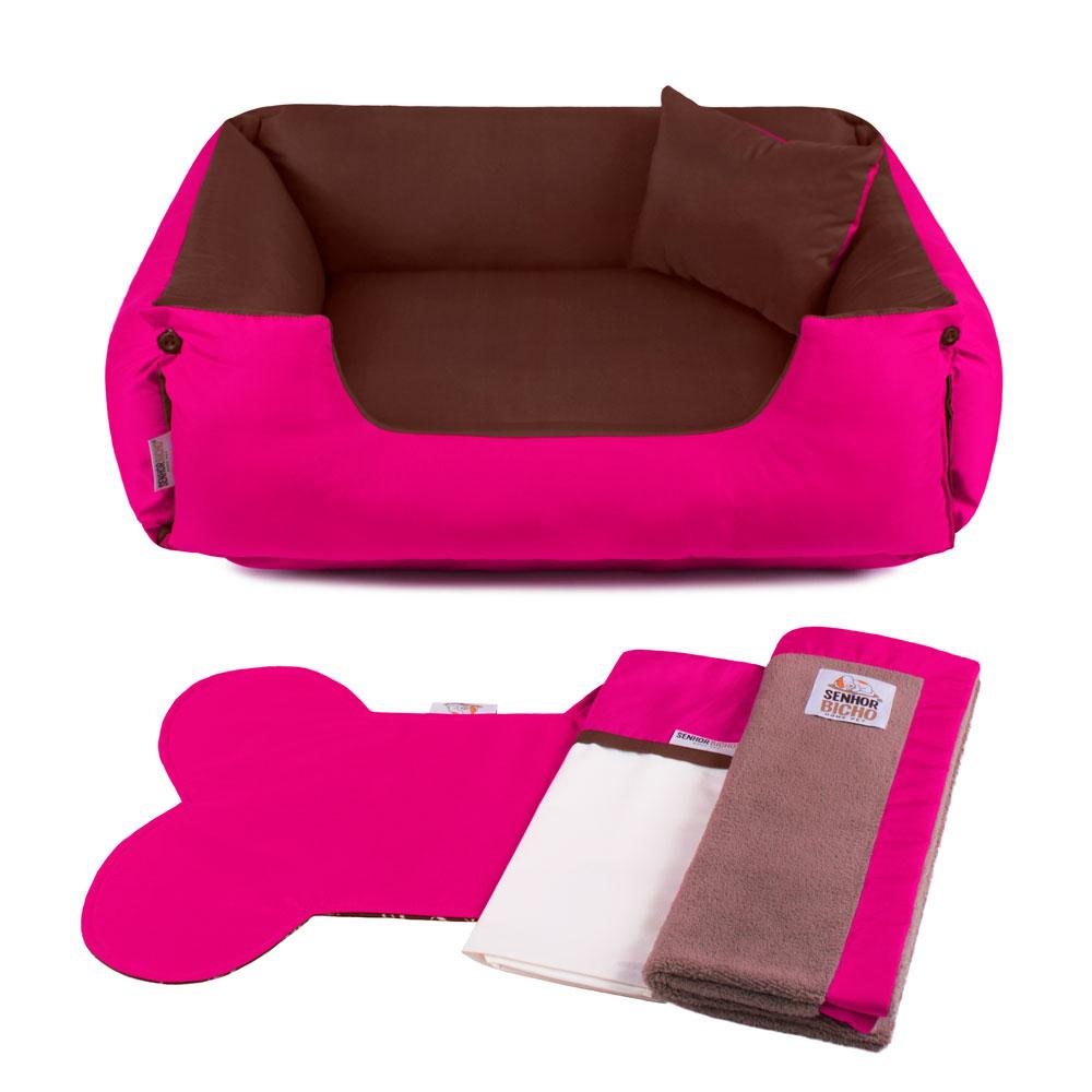 Enxoval Cama de Cachorro Dupla Face Lola - GG - Marrom Pink