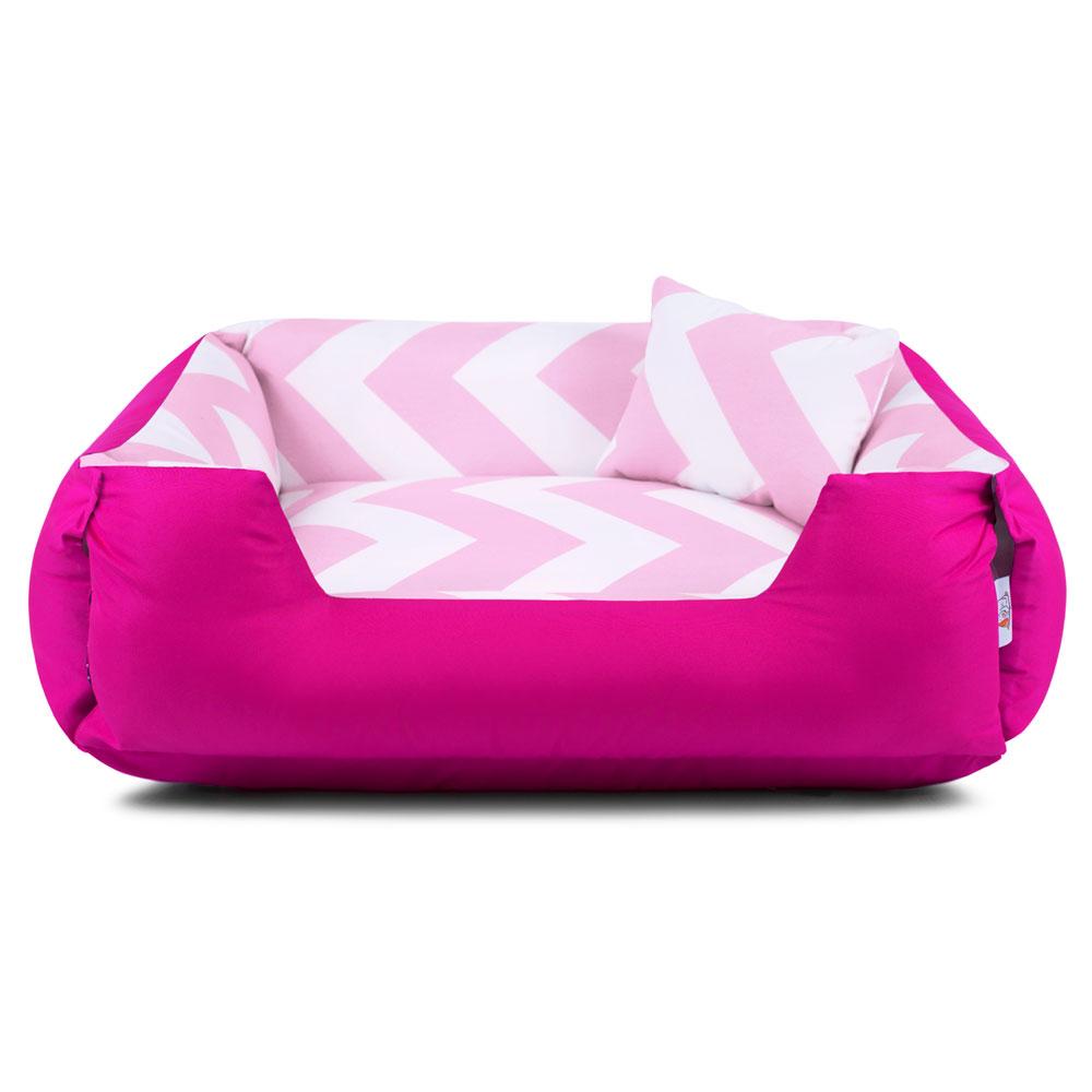 Enxoval Cama de Cachorro Dupla Face Lola - M - Chevron Rosa Pink