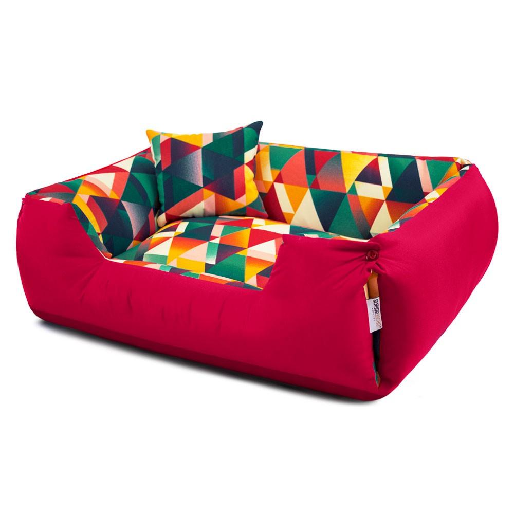 Enxoval Cama de Cachorro Impermeável Lola - M - Geometric Vermelho