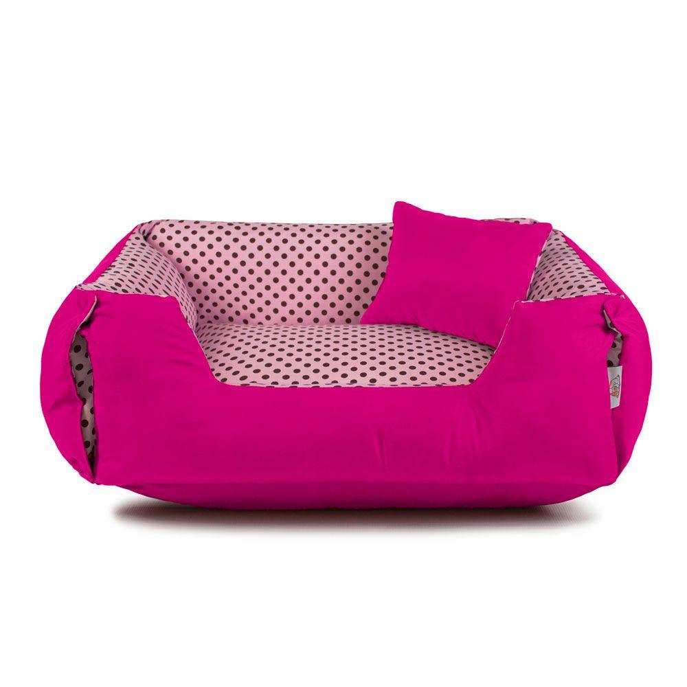 Enxoval Cama de Cachorro Dupla Face Lola - G - Rosa Poá Pink