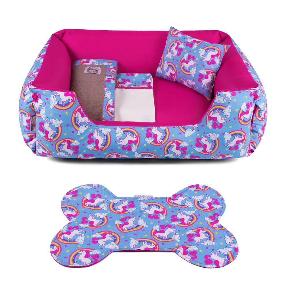 Enxoval Cama de Cachorro Dupla Face Lola - G - Unicórnio Azul Pink
