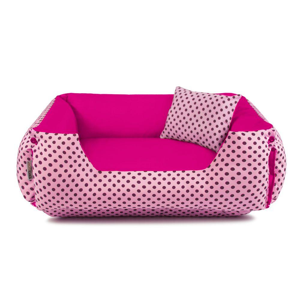 Enxoval Cama de Cachorro Dupla Face Lola - GG - Rosa Poá Pink