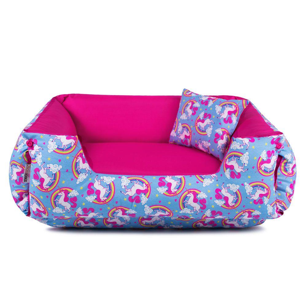Enxoval Cama de Cachorro Dupla Face Lola - GG - Unicórnio Azul Pink
