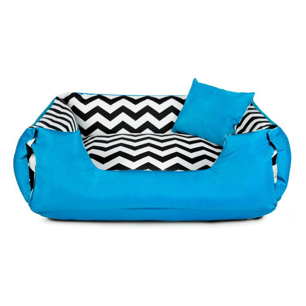 Enxoval Cama de Cachorro Dupla Face Lola - P - Chevron Azul