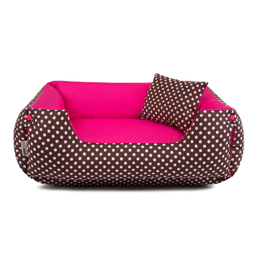Enxoval Cama de Cachorro Dupla Face Lola - P - Marrom Poá Pink