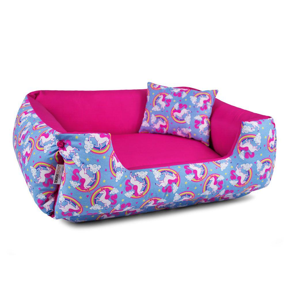 Enxoval Cama de Cachorro Dupla Face Lola - P - Unicórnio Azul Pink