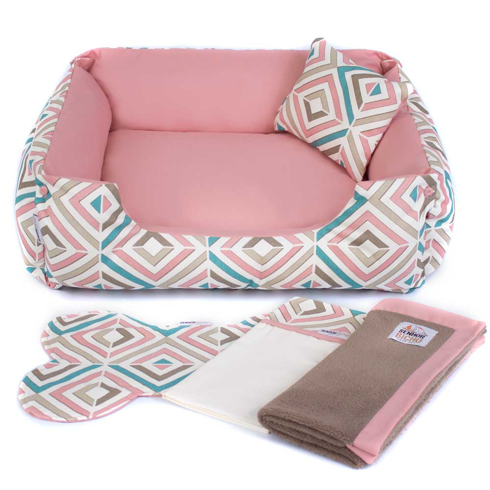Enxoval Cama de Cachorro Dupla Face Olympus - G - Rose