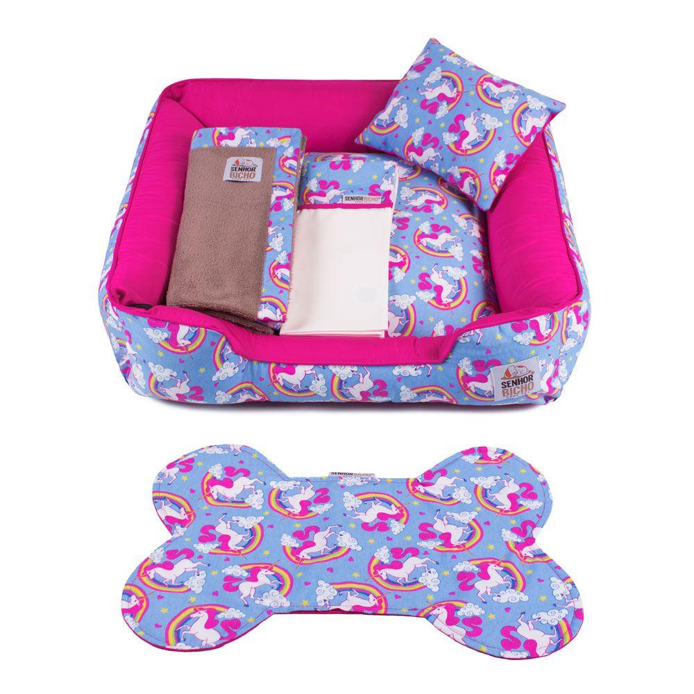 Enxoval Cama de Cachorro com Zíper Pandora - GG - Unicórnio Azul Pink