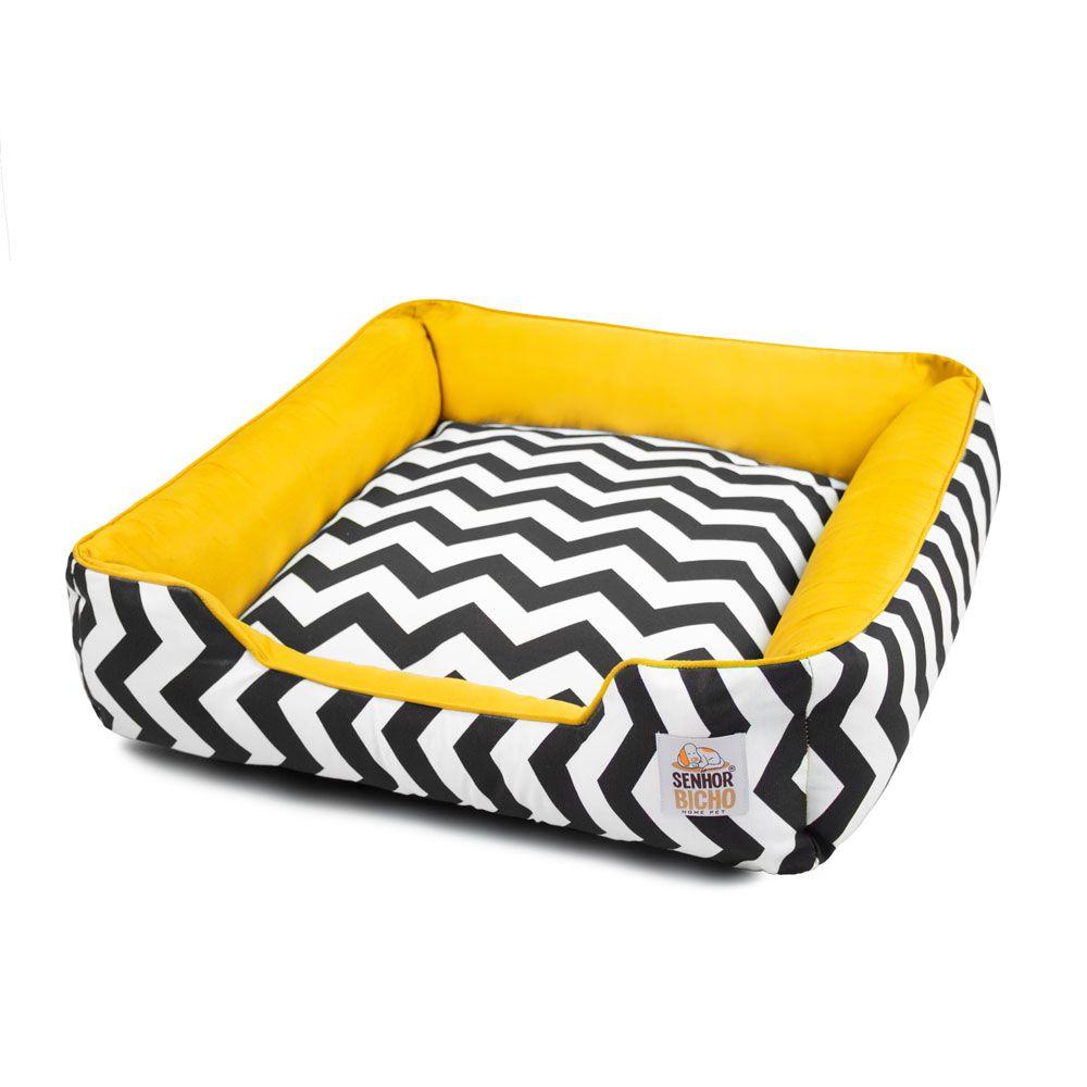 Enxoval Cama de Cachorro com Zíper Pandora - M - Chevron Amarelo