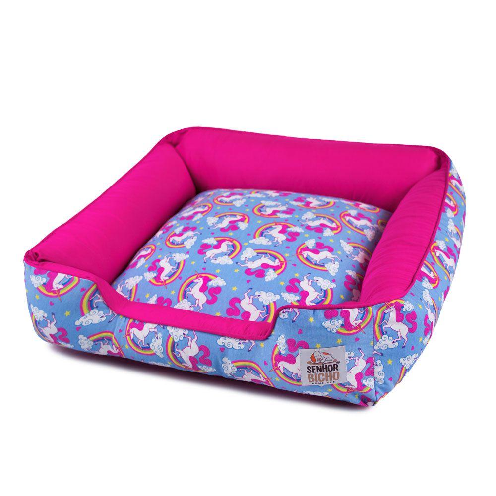 Enxoval Cama de Cachorro com Zíper Pandora - M - Unicórnio Azul Pink