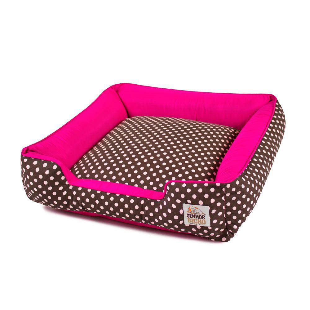 Enxoval Cama de Cachorro com Zíper Pandora - P - Marrom Poá Pink