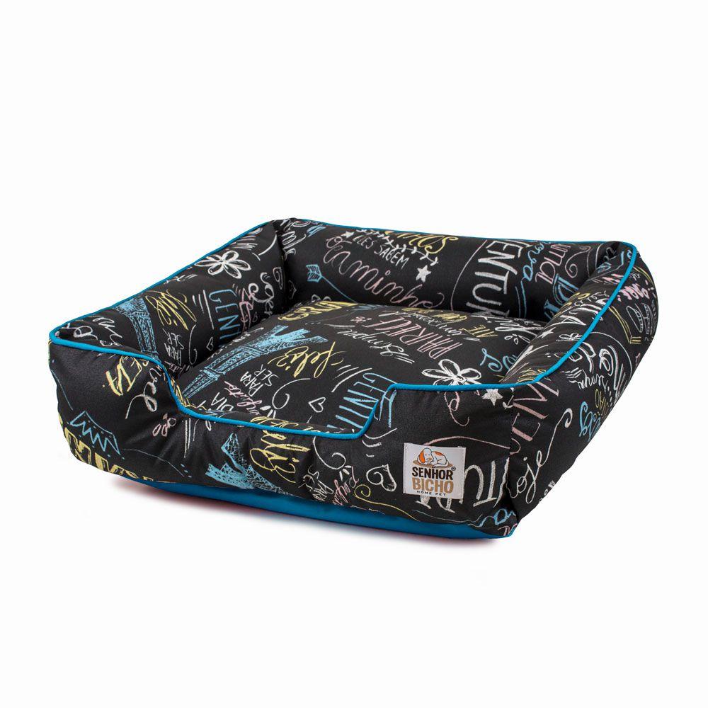 Enxoval Cama de Cachorro Impermeável com Zíper Pandora - M - Lousa Azul