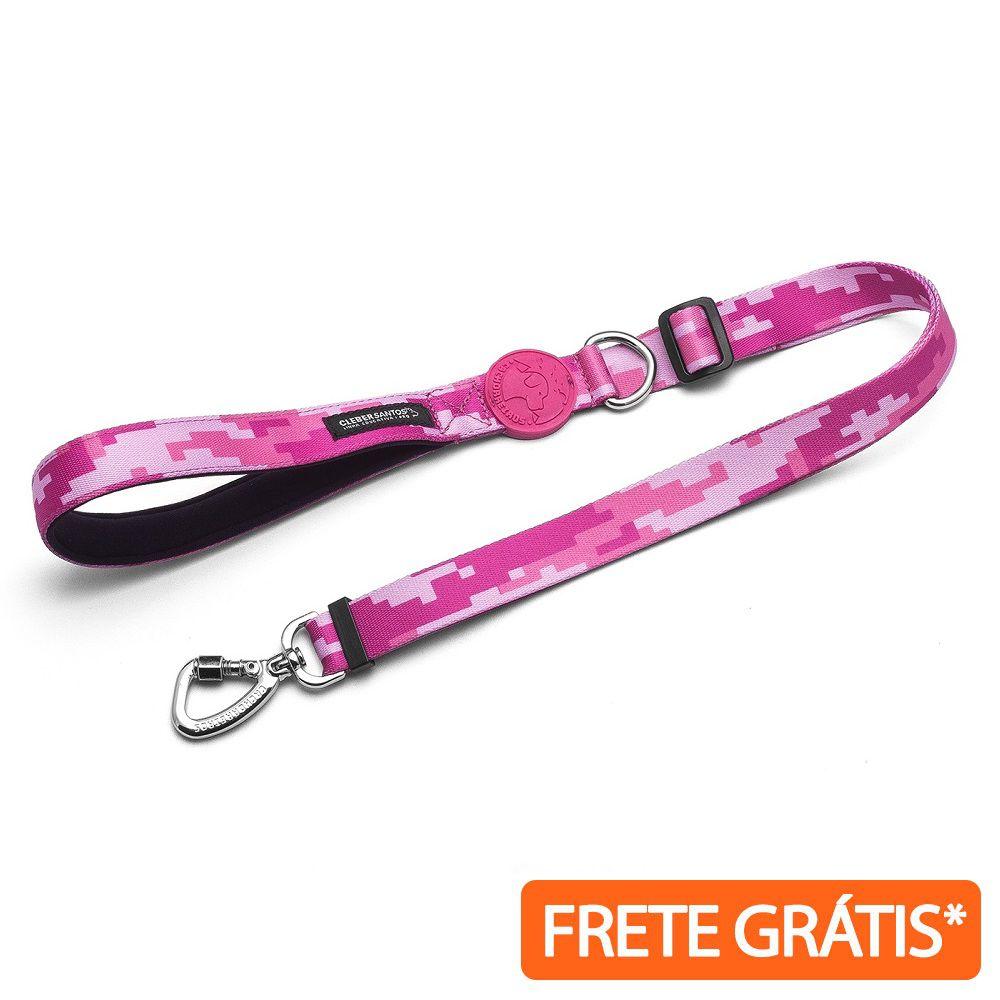 Guia Flex para Cachorro Camuflada Rosa by Cleber Santos - Frete Grátis Sul e Sudeste