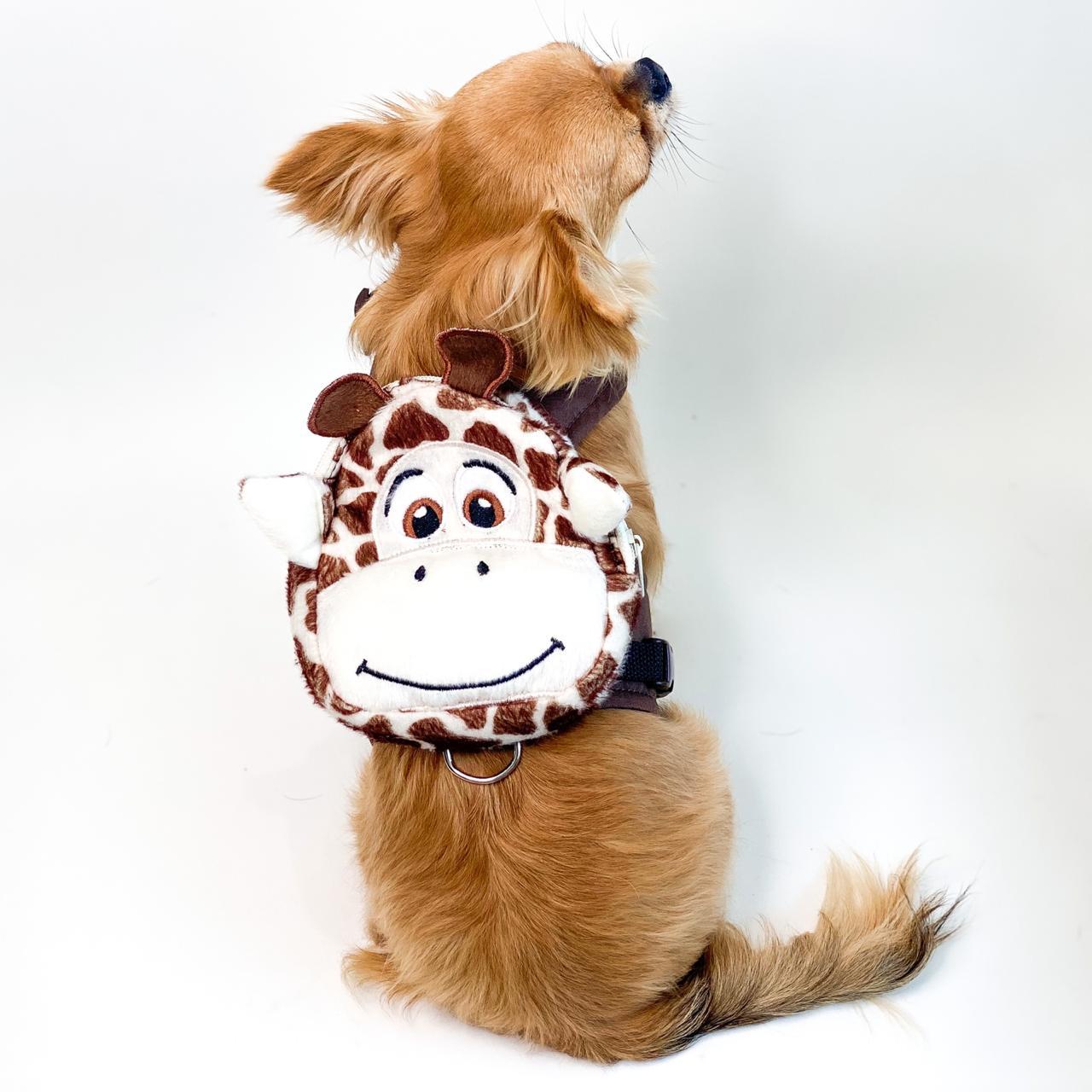 Guia Para Cachorro com Mochila Girafa