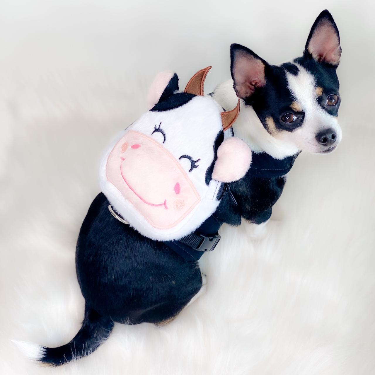 Guia Para Cachorro com Mochila Vaquinha