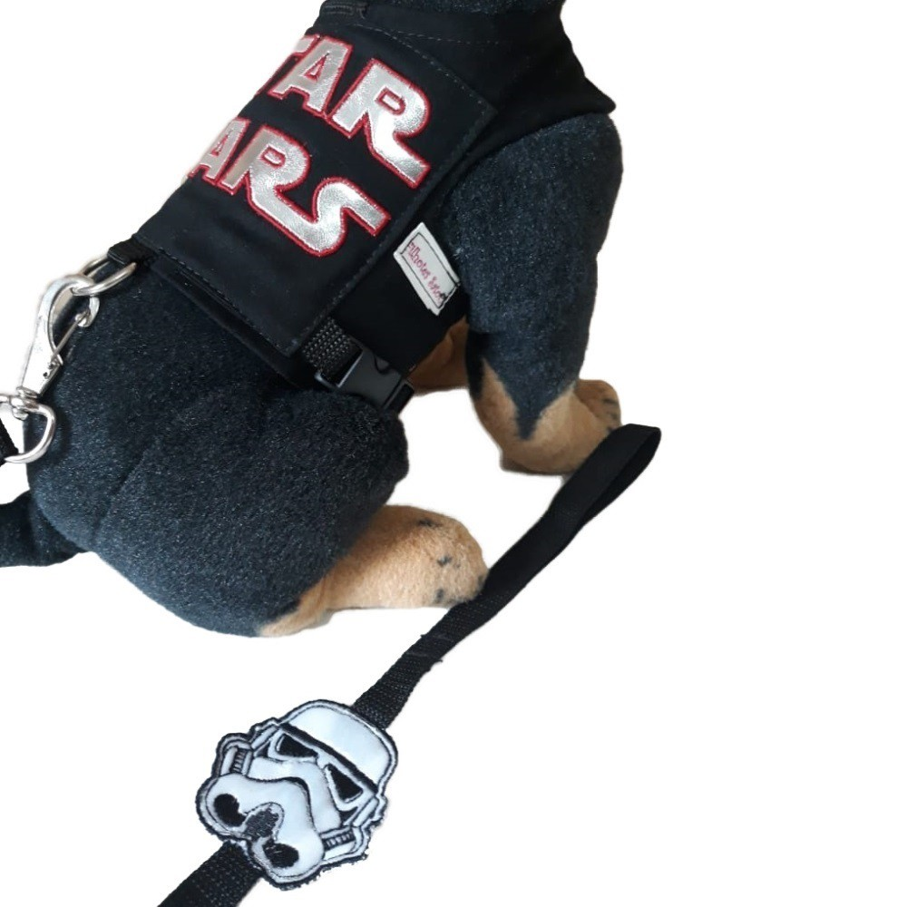 Guia Peitoral Para Cachorro - Preta Bordada