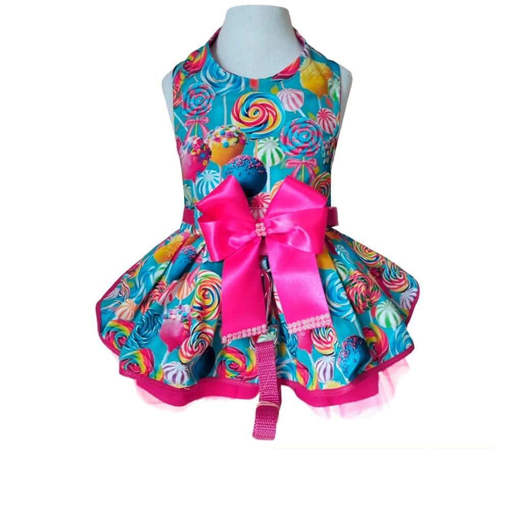 Guia Peitoral Roupinha para Cachorro - Vestido Candy