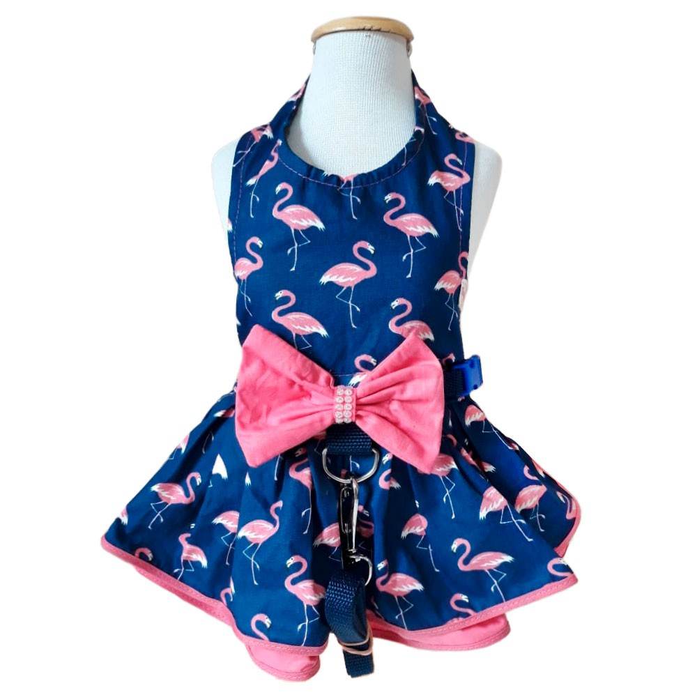 Guia Peitoral Roupinha Para Cachorro - Flamingo Escuro