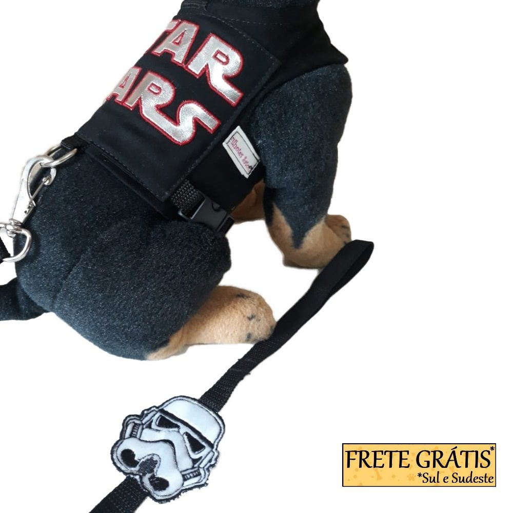 Guia Peitoral Roupinha Pet Homem de Ferro para Cachorro e Gato - FRETE GRÁTIS*