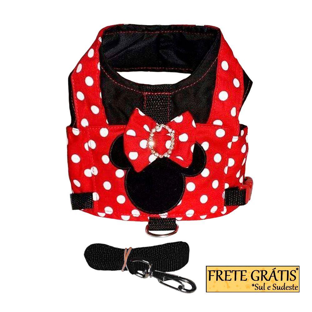 Guia Peitoral Roupinha Pet Minnie para Cachorro e Gato - FRETE GRÁTIS*