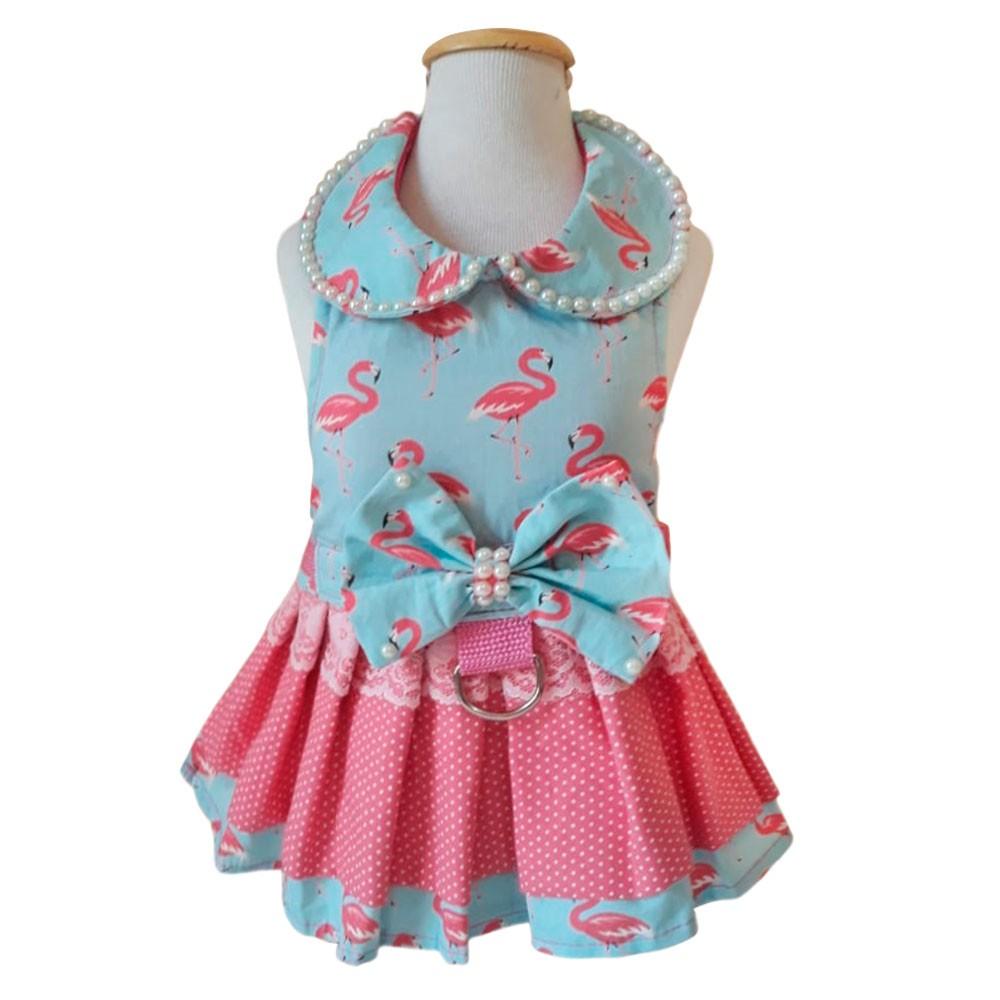 Guia Peitoral Roupinha Para Cachorro - Vestido Flamingo Claro