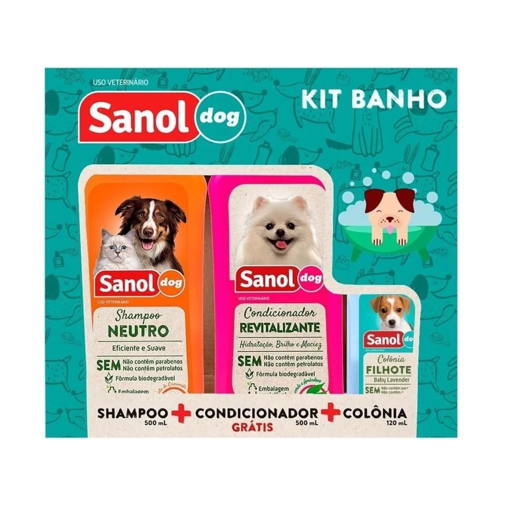 Kit Banho Sanol Dog (Shampoo Neutro + Condicionador Revitalizante + Colônia)