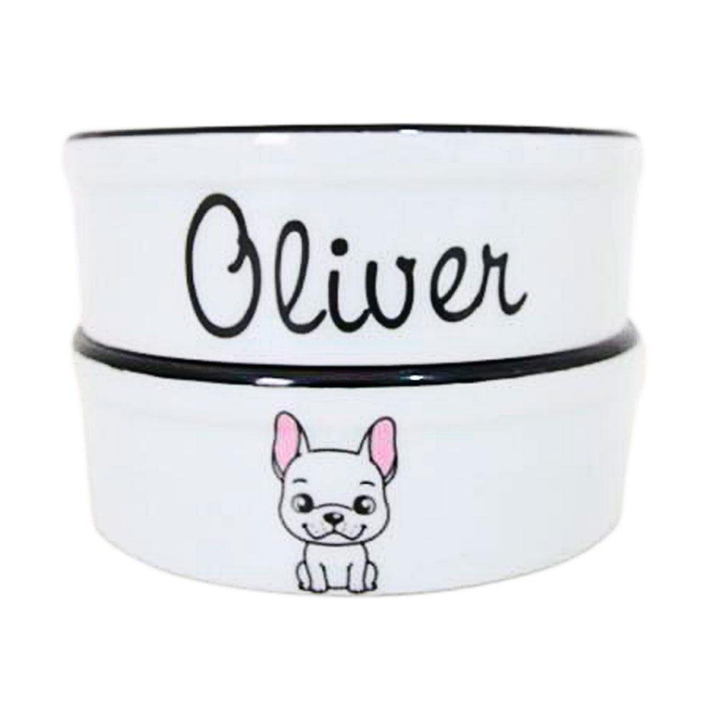 Pote para Cachorro - Comedouro e Bebedouro de Porcelana Personalizado Bulldog Francês Preto