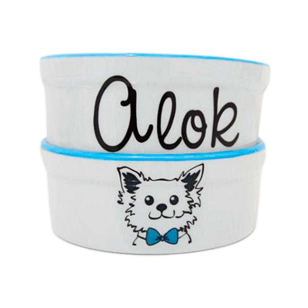 Pote para Cachorro - Comedouro e Bebedouro de Porcelana Personalizado Cachorrinho Azul