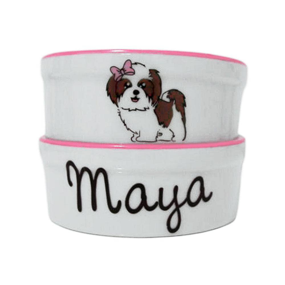 Pote para Cachorro - Comedouro e Bebedouro de Porcelana Personalizado Fofinha Rosa