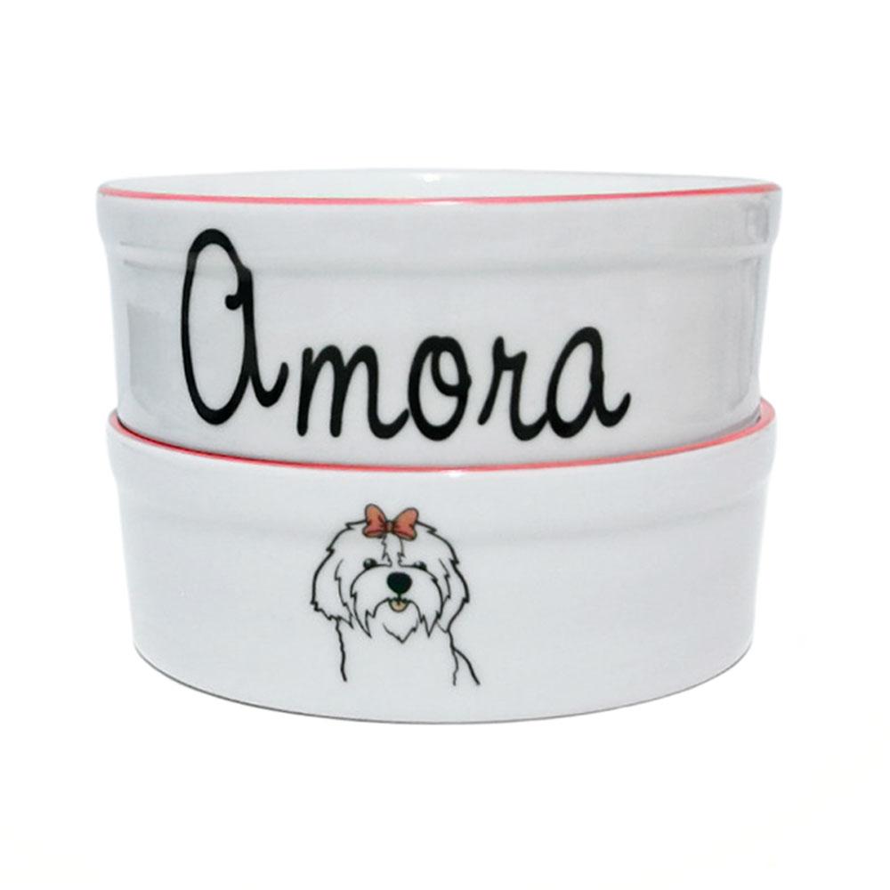 Pote para Cachorro - Comedouro e Bebedouro de Porcelana Personalizado Pet Rosa