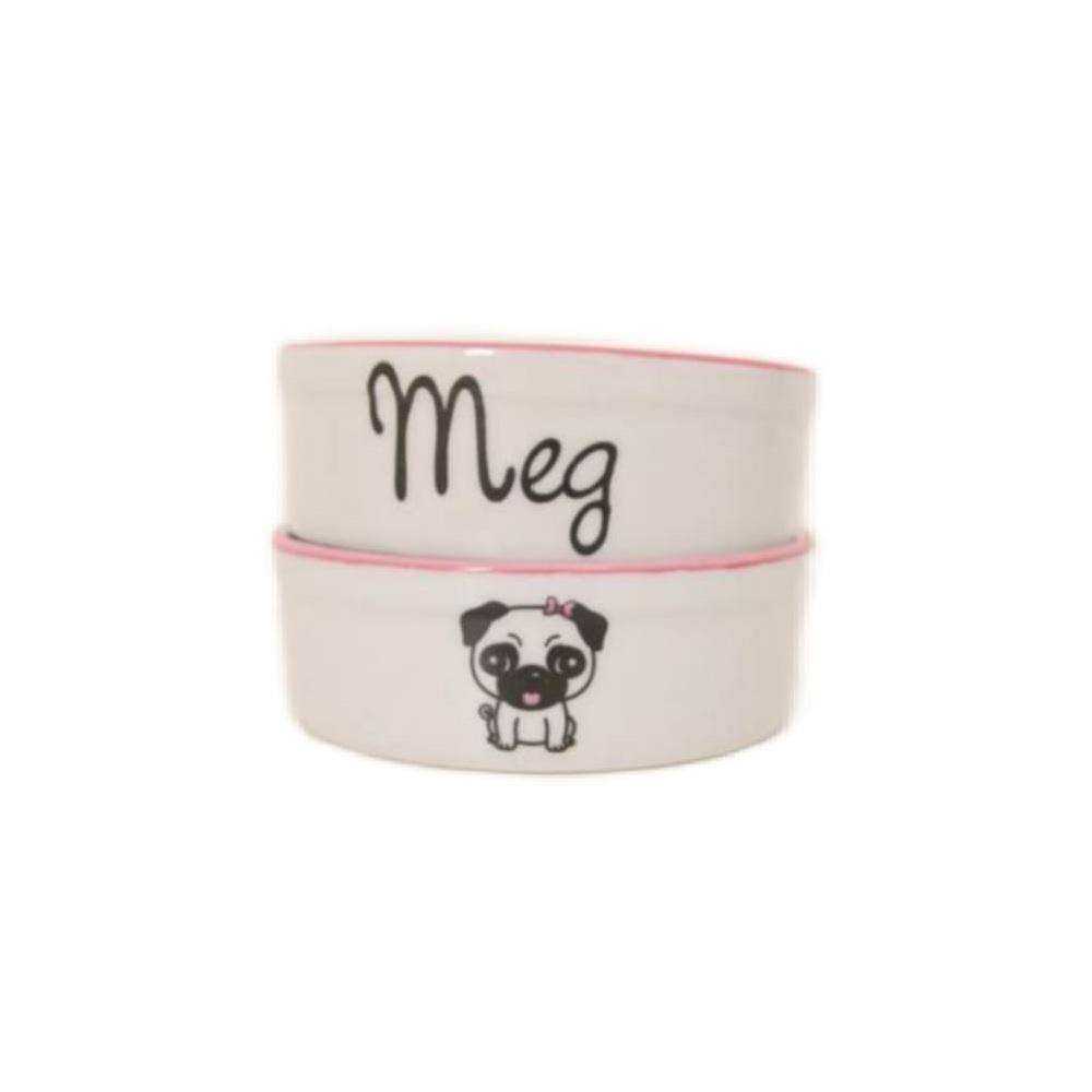 Pote para Cachorro - Comedouro e Bebedouro de Porcelana Personalizado Pug Rosa