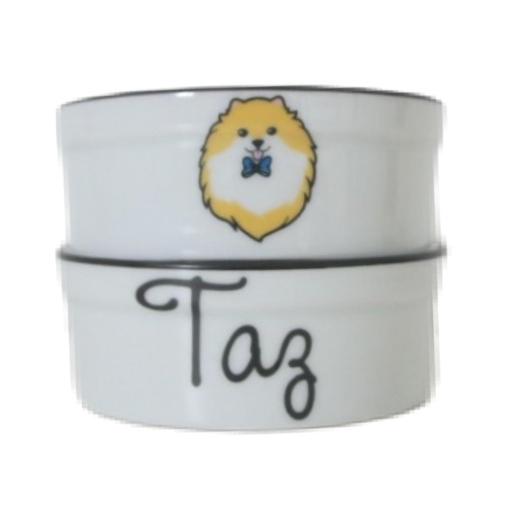 Pote para Cachorro - Comedouro e Bebedouro de Porcelana Personalizado Spitz Preto