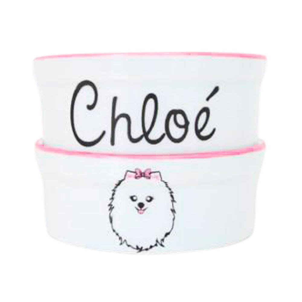 Pote para Cachorro - Comedouro e Bebedouro de Porcelana Personalizado Spitz Rosa
